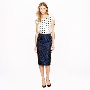 JCrew No. 2 pencil skirt in dot brocade